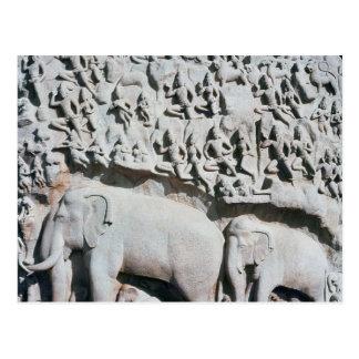 Arjunaの苦行を描写するレリーフ、浮き彫り ポストカード