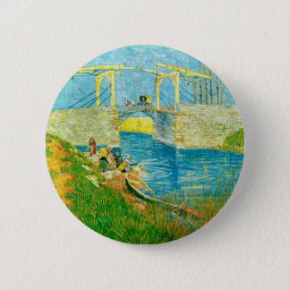 ArlesでLanglois Brigeを絵を描いているゴッホ 5.7cm 丸型バッジ