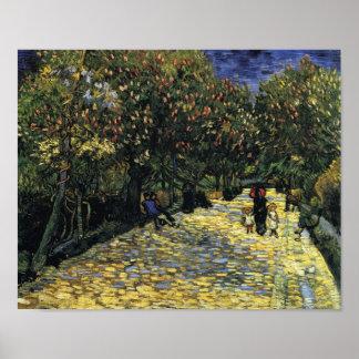 Arles、ゴッホのクリの木が付いている道 ポスター
