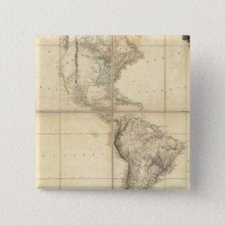 Arrowsmith著アメリカの地図 5.1cm 正方形バッジ