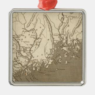 Arrowsmith著メインの地図 シルバーカラー正方形オーナメント