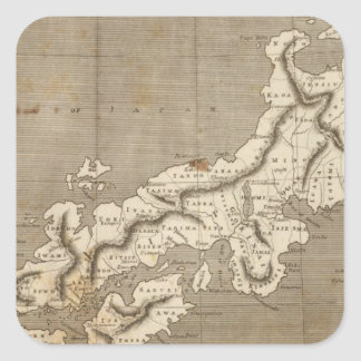 Arrowsmith著日本地図 正方形シール・ステッカー