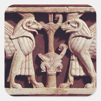 Arslan Tashからの2つのgriffonsを、描写するレリーフ、浮き彫り スクエアシール