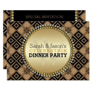 Art Deco Geometric Pattern Black Gold Dinner Party カード