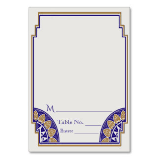 Art Deco Gold Navy Posh Place Card カード