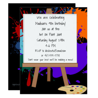 Art Easel Painting Party Invitation 10.8 X 14 インビテーションカード