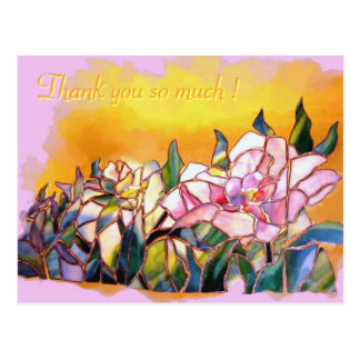 Art Glass Peony Thank You Lovely Card ポストカード