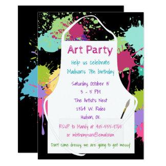 Art Party Pastel Paints 11.4 X 15.9 インビテーションカード