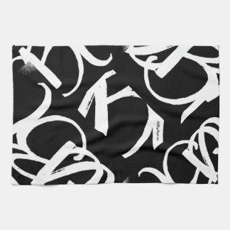 """ArtBuyAngie™著""""ABA""""の台所タオル(黒で白い) キッチンタオル"""