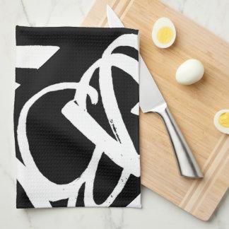 ArtBuyAngie™著ABA®の台所タオル(黒で白い) キッチンタオル