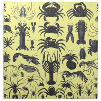 Arthropoda: くも、カニ、ロブスターB&Wパターン ナプキンクロス