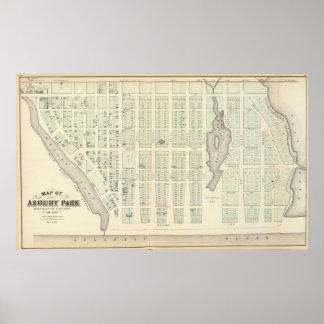 Asbury公園、Monmouth郡、ニュージャージーの地図 ポスター