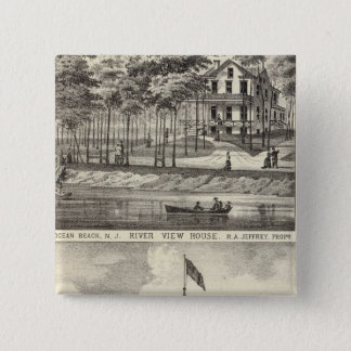 Asbury教育ホール、公園および川の眺めの家 5.1cm 正方形バッジ