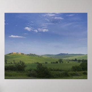 Asciano、クレタSenesiのシエナの地域、タスカニー、 ポスター