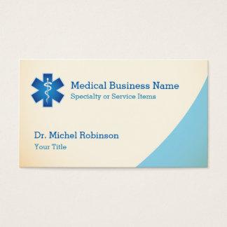 Asclepiusの医学の記号のスタッフ-クリーム色の青 名刺