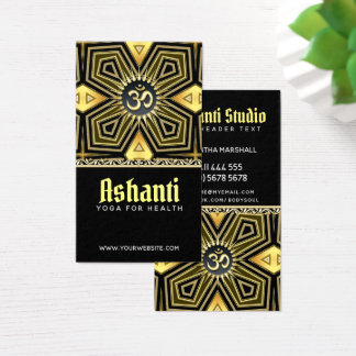 Ashantiのヨガの黒の金ゴールドのDecoの名刺 名刺