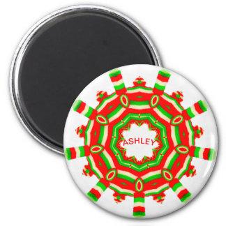 ASHLEYの~の名前入りなクリスマスの車輪のフラクタルの~ マグネット