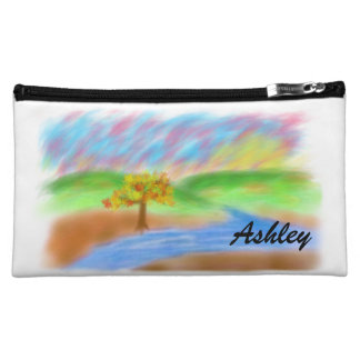 Ashley_Digitalの絵画の丘の木の川の日没 コスメティックバッグ