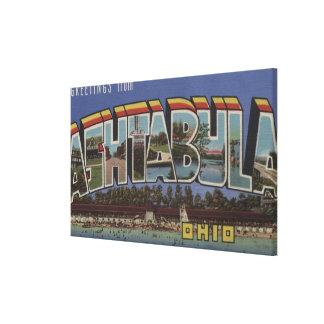Ashtabula、オハイオ州-大きい手紙場面 キャンバスプリント