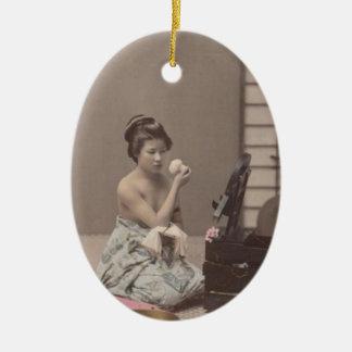 Asian Vintage Art Geisha日本のな女性 セラミックオーナメント