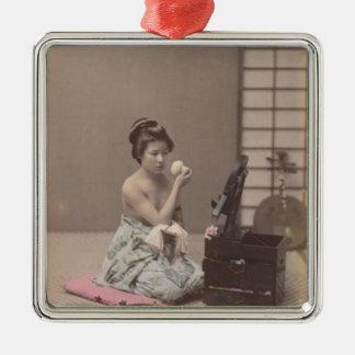 Asian Vintage Art Geisha日本のな女性 メタルオーナメント
