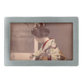 Asian Vintage Art Geisha日本のな女性 長方形ベルトバックル