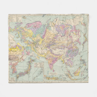 Asien uのユーロパ-アジアおよびヨーロッパの地図書の地図 フリースブランケット