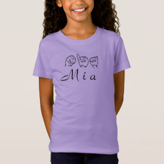 ASLのアメリカ手話Fingerspelled Mia Tシャツ
