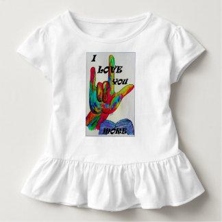 ASLのアメリカ手話I愛多く トドラーTシャツ