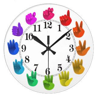ASLの手話の虹のカラーホイールライト ラージ壁時計