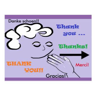 ASLは感謝していしています! Merci、Danke Schoen、およびGracias! ポストカード