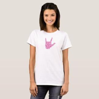 """ASL """"私は""""ピンクのハートの女性のTシャツ愛します Tシャツ"""