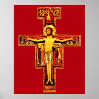 Assisiのカトリック教徒のサンダミアーノの十字架像Stフランシス ポスター