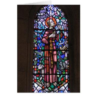 AssisiのステンドグラスのSt. Francis カード