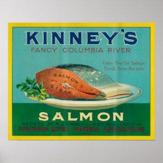 Astoriaのオレゴン- Kinneyのサーモンピンクの場合のラベル ポスター