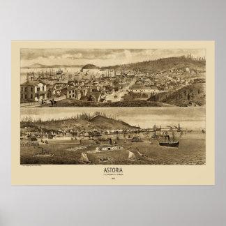Astoriaオレゴンのパノラマ式の地図1883年 ポスター