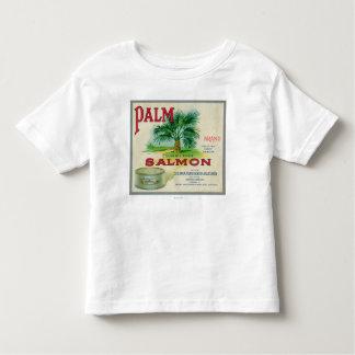 Astoria、オレゴン-やしサーモンピンクの箱のラベル トドラーTシャツ