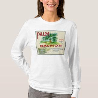Astoria、オレゴン-やしサーモンピンクの箱のラベル Tシャツ