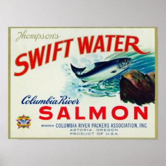 Astoria、オレゴン-トムソンの速い水サケ ポスター