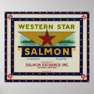 Astoria、オレゴン-西部の星のサーモンピンクの箱のラベル ポスター
