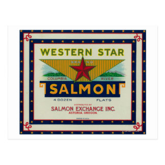 Astoria、オレゴン-西部の星のサーモンピンクの箱のラベル ポストカード