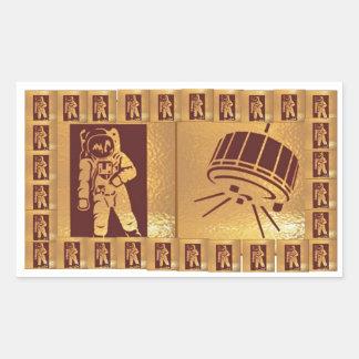 Astranautおよび衛星芸術の金正方形のボーダー 長方形シール