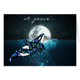 at peace ~ Full Moon Psychedelic Trippy Orca Whale カード