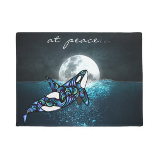 at peace ~ Full Moon Psychedelic Trippy Orca Whale ドアマット