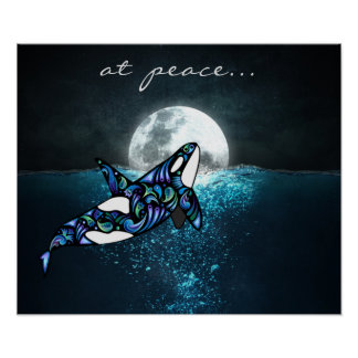 at peace ~ Full Moon Psychedelic Trippy Orca Whale ポスター