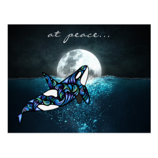 at peace ~ Full Moon Psychedelic Trippy Orca Whale ポストカード