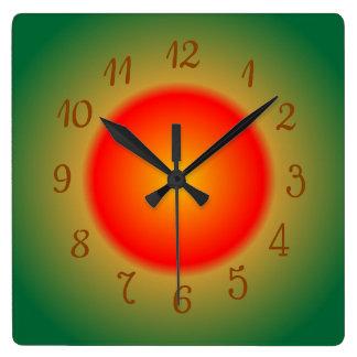 Atmospheric Orange/Red and Green > Kitchen Clocks スクエア壁時計