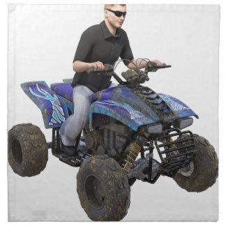 ATVの青い泥のライダー ナプキンクロス