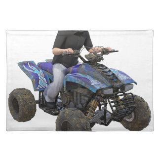 ATVの青い泥のライダー ランチョンマット