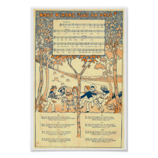 auのboisのフランスのな歌音楽スコアとNousのn'irons ポスター
